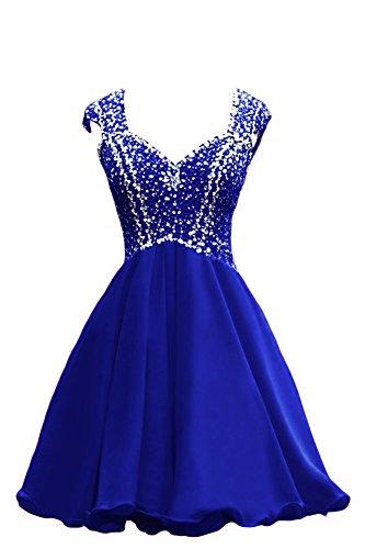 Bridal_Mall -  Vestito  - linea ad a - Senza maniche  - Donna blu royal