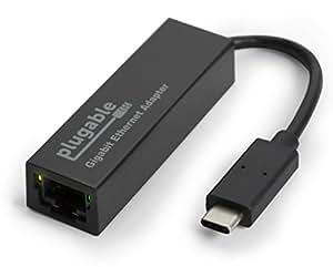 Adaptateur Plugable USB-C pour réseau LAN Gigabit Ethernet 10/100/1000 (compatible avec Windows, Mac OS, Linux, Chrome OS)