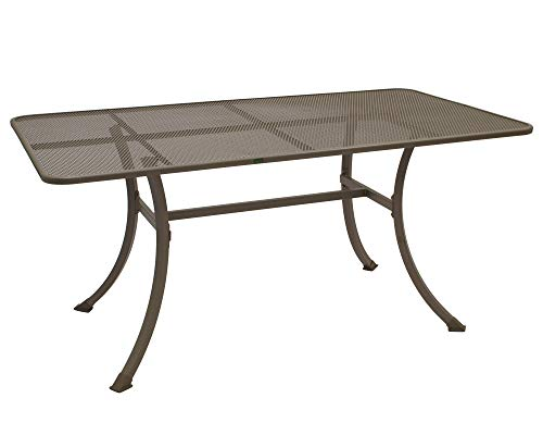 gartenmoebel-einkauf Streckmetall-Tisch Roma 90x160cm mit stabilem Stahlgestell, braun-beige