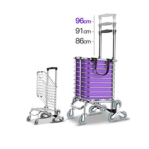 JXXDDQ 8 Räder Treppensteigen Einkaufswagen Trolley Aluminium Tri-Rad Haushalts Vans Leicht Faltbar - Lila