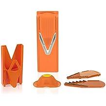 Original rallador Börner V3 TrendLine (incluye placa para hacer rodajas y placas con cuchillas de 3,5mm y 7mm) con el soporte de seguridad para frutas. Rallador para cortar fruta y verduras en rodajas y tiras. El producto está elaborado por el fabricante. (naranja)