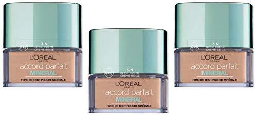 L'Oréal Paris Poudre Accord Parfait Minéral 3N Beige Crème - Ptiparis Lot de 3