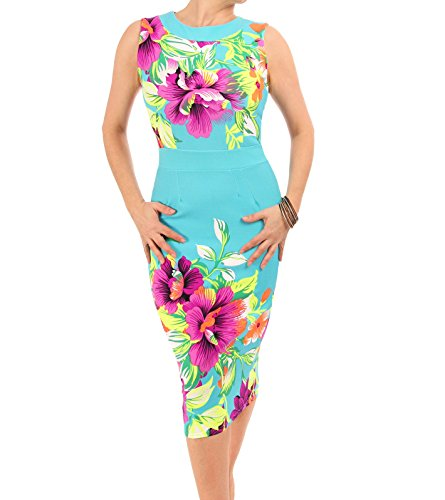 Blue Banana - Floral Robe sans manches turquoise et rose
