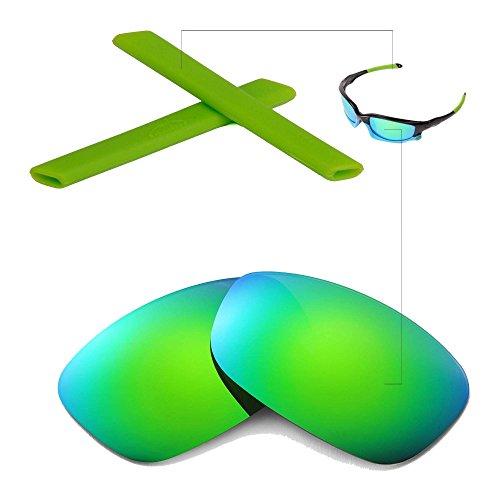 Walleva Wechselgläser Und Earsocks für Oakley Split Jacket Sonnenbrille - Mehrfache Optionen (Smaragd Polarisierte Linsen + Grüner Gummi)