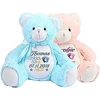 Peluche - ours rose bleu personnaliser avec broderie, cadeau pour naissance, baptême, fêtes, Noël, brodé, personnalisé, doudou prénom