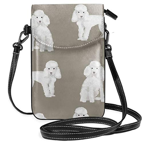 best pillow Toy Poodle White Simple Dog Breed Medium Tan Small Crossbody Bag Lightweight Leather Cell Phone Purse With Credit Card Slot -