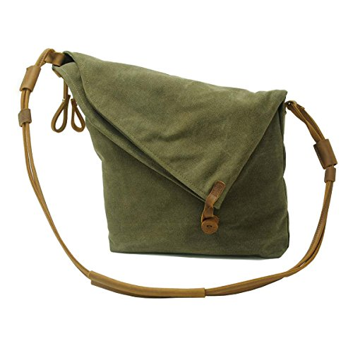 VRIKOO Casual Crazy Horse Leather Canvas Crossbody Messenger Bag Classic Retro Shouder Weekender Bag For Unisex (Dark Grey) Verde