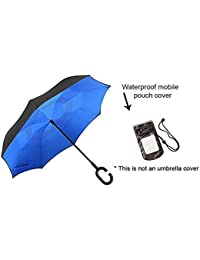 Majik Combo Of Reversible Umbrella And Waterproof Mobile Pouch Cover, Reverse Umbrella Straight With C-Shaped...