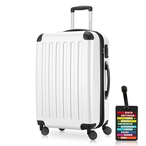 Hauptstadtkoffer - Spree Hartschalen-Koffer Koffer Trolley Rollkoffer Reisekoffer Erweiterbar, 4 Rollen, TSA, 65 cm, 74 Liter, Weiss +Design Kofferanhänger