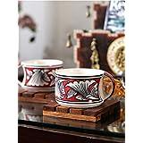 VarEesha Ceramic Cup Set, 6-Pieces, Red