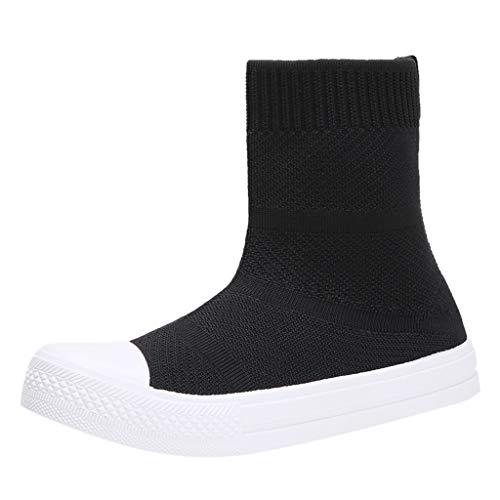 Sportschuhe High Top Damen Slip-On Sport Stiefeletten Schlupfstiefel Atmungsaktive Socken Schuhe Elastizität Laufschuhe Fliegendes Weben Sneaker Freizeitschuhe Weicher Boden Turnschuhe, Schwarz, 39 EU