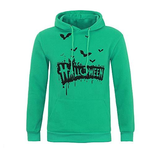 TEBAISE Damen Spinnennetz Spinne Fledermäuse Drucken Langarmshirt Sweatshirt Pullover(Grün,XL)