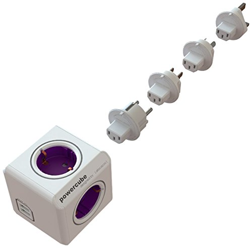 Allocacoc PowerCube Orginal Rewirable USB 4xSteckdose 4xTravel-Plugs 2xUSB violett 2873 (Ipod 4 Fall Leben)