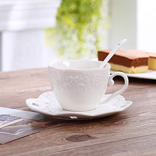 AICUP Bone China Kaffeetasse Untertasse Löffel Set 200 Ml Keramik Becher Porzellan Teetasse Tablett Cafe Party Drink Geschenk
