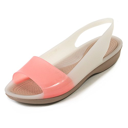 Crocs Women's Colour Block Flat Translucent Croslite Sandal Stucco / Gold