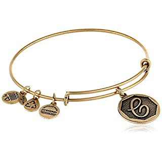 Alex and Ani Rafaelian Gold-Tone Initial C Expandable Wire Bangle Bracelet, 2.5