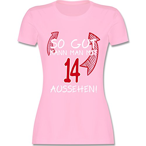 Geburtstag - So gut kann man mit 14 aussehen - tailliertes Premium T-Shirt mit Rundhalsausschnitt für Damen Rosa