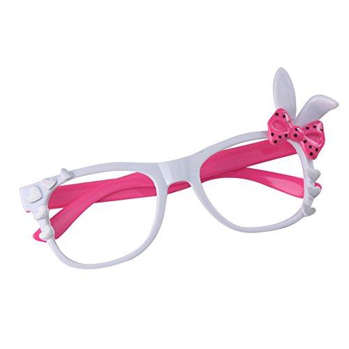 Juleya Kinder Bunny Herz Bogen Gläser Rahmen - Kinder Brillen Geek/Nerd Retro Reading Eyewear Keine Objektive für ()