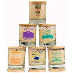 Velas originales con frases de motivación y con variedad de fragancias.