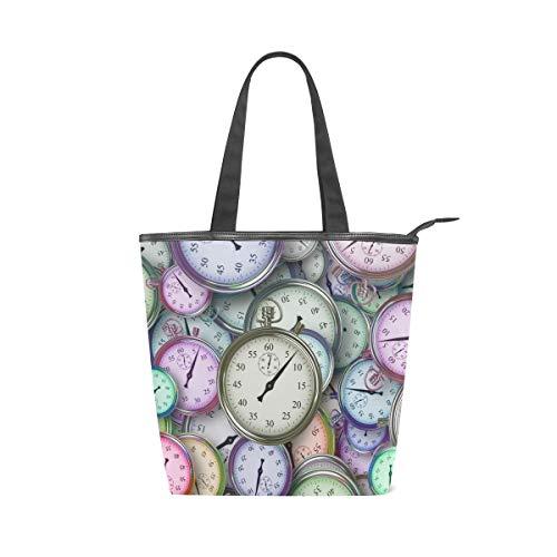 LAZEN Stilvolle Leinwand Tote Bag Handtasche 14 x 4,5 x 15 Zoll cute Uhren