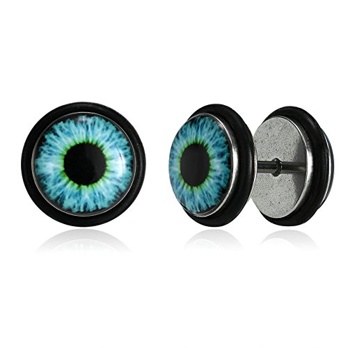 KnSam Herren-Ohrringe Edelstahl Teufel Auge Ohrstecker Blau Schwarz für Männer [Neuheit Ohrschmuck]