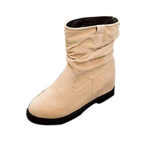Botas para Mujer KOLY Invierno Cuña Botines Rebaño Tobillo Botas planas Zapatos Tubo de plataforma Zapatos de mujeres Mujer Classic Solid Lined Impermeable Invierno Rain Nieve Botines (39, Beige)