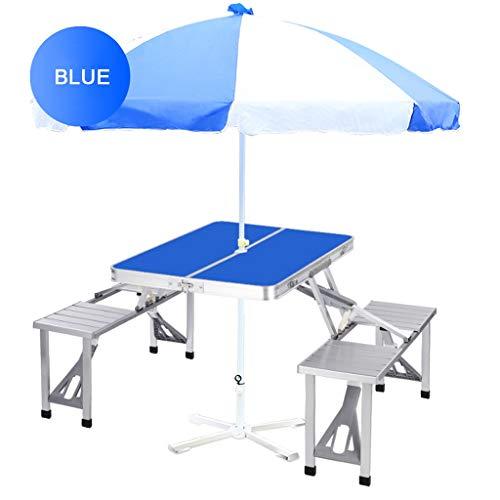 Aluminium Klapp Campingtisch Outdoor Tragbare Picknickkoffer Tisch Set W/Bank 4 Sitz Und Regenschirm Kamm