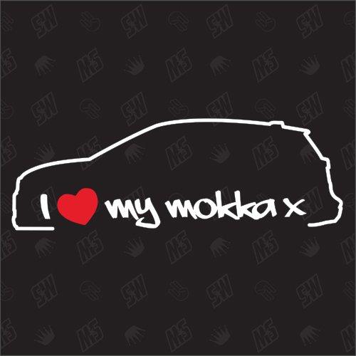 I Love My Mokka X - Sticker für Opel,ab Bj 16, Auto Tuning Aufkleber, SUV Car, Speedwerk