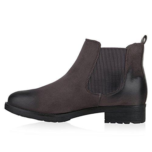 Stiefelparadies - Stivali Chelsea Donna grigio opaco