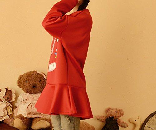 Purpura Erizo Femme Robe Courte Col Rond Jeune Imprimée Large Manches Longues Rouge