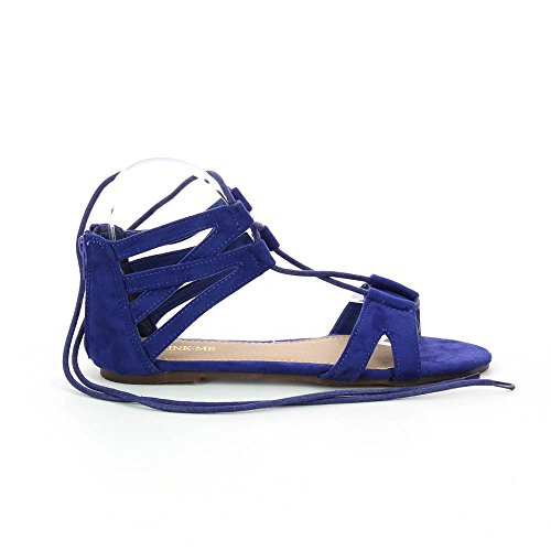 Sandales plates style spartiates Bleu