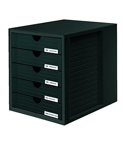 Hanlesi HAN 1450 Schubladenbox SYSTEMBOX DIN A4, 5 geschlossene Schubladen 2 Boxen Schwarz -
