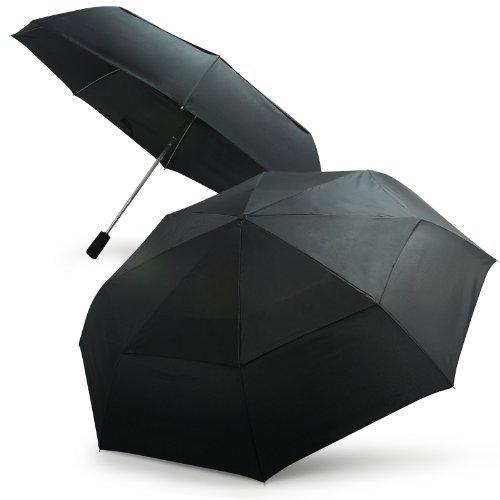 Becko Regenschirm, automatisch, doppelter Schirm, Winddicht, Schwarz