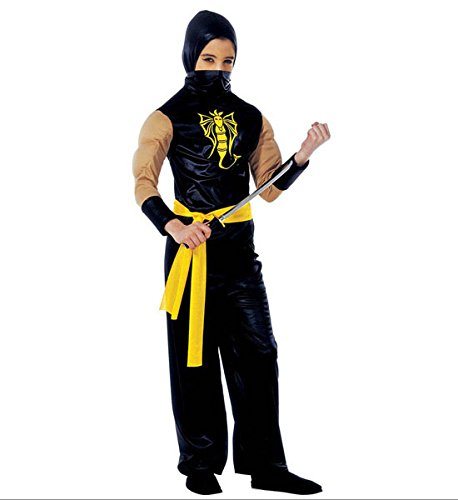 Widmann wdm38758-Kostüm für Kinder Power Ninja (158cm/11-13Jahre), Schwarz, - Ninja Ranger Kostüm
