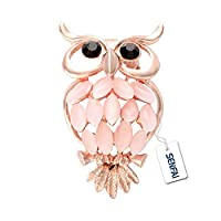 SENFAI Opal Crystal Cute Owl Brooch Jewelry Safety Pin Women Birthday Gift (Light pink)
