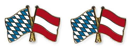 Yantec Freundschaftspin 2er Pack Bayern Österreich Pin Anstecknadel Doppelflaggenpin