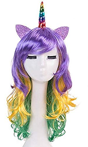 (Ecommerce Trade Ltd Perücke Kostüm Halloween Party Zubehör Spiel der Throne Donald Trump Harley Quinn Schwarz Blonde SIL (Lila und Gelb Einhorn))