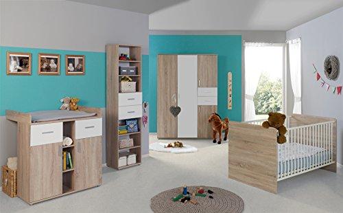 Babyzimmer Komplettset / Kinderzimmer komplett Set ELISA verschiedene Varianten in Eiche Sonoma / Weiß (ELISA 4)