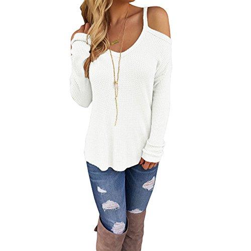 Uranus Damen Kalte Schulter Stricken Lange Ärmel Zur Seite fahren Sweatshirt Oberteile Bluse Tunika Weiß, S (Trim Cami Set)