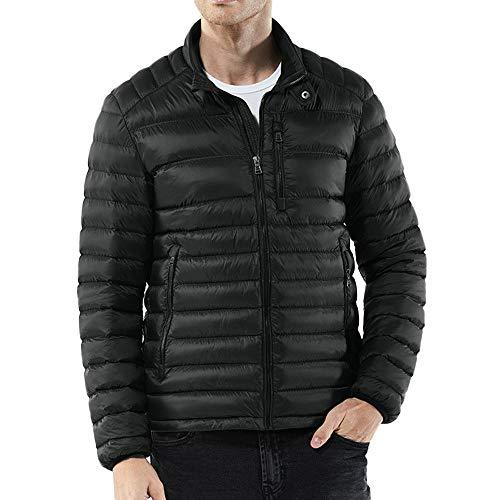 Xmiral Herren Jacke Mantel Winter Warm Nylon Zipped Thick Solid Baumwolle gefütterte Outwear (XXL,Dunkelblau)
