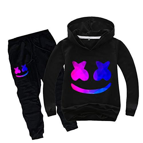 Hoodie Sweatshirt Hose (CTOOO 2019 Neuer Marshmello DJ Jungen Pullover Und Beam Hose, Kinder Mode Hoodie Sweatshirt Fans Bekleidung (150(Höhe 140-150cm),schwarz1))