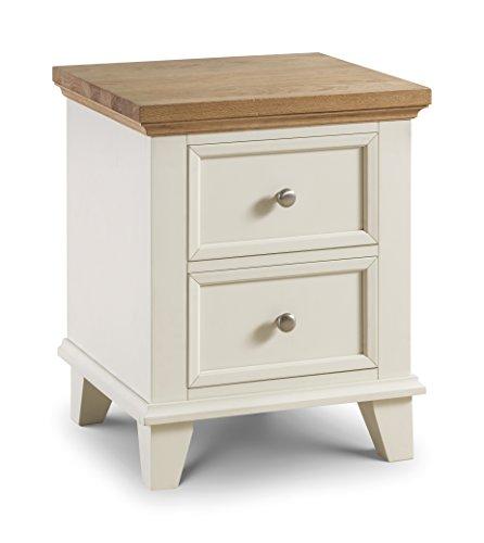 Julian Bowen Portland Nachttisch, 2Schubladen, Holz, Eiche/elfenbeinfarben, Holz, Stone White/Oak, 50 x 45 x 62 cm -