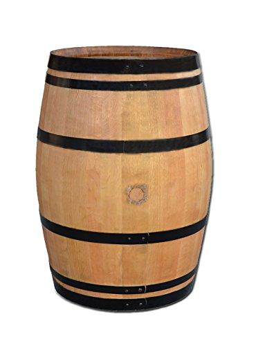 Dekofass, Weinfass geöffnet als Regentonne, Regensammler - Fass geschliffen lackiert mit schwarzenRingen (Fass nur geöffnet)