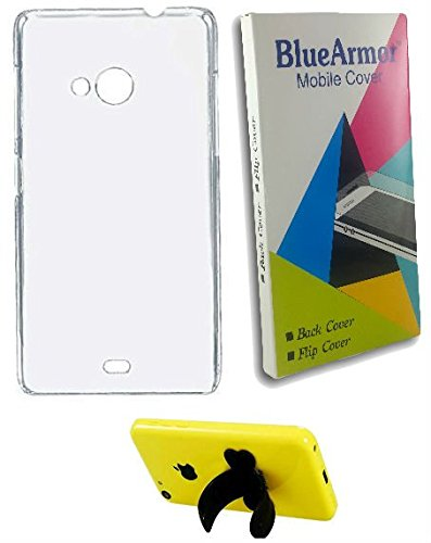 BlueArmor Soft Silicone Back Cover Case For Reliance Jio Lyf Wind 4 - Transparent & Mobile Stand