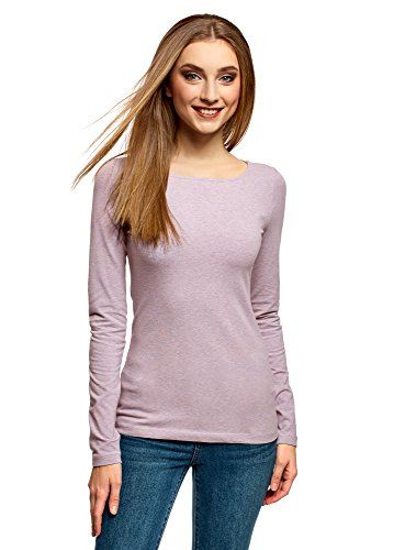 Oodji collection donna t-shirt con maniche lunghe, rosa, it 50/eu 46/xxl