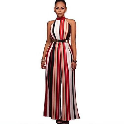 NAOMIIII Frauen Casual Striped Ärmellos Wide Leg Hose Overall , Red , Xxl (Rise Wide Jean Leg High)