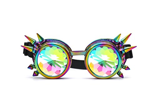 LYZ Goggles , Kaleidoscope Rave Rainbow Crystal Lenses Vintage Steampunk Goggles &Glasses Cosplay Party Rivets Goggles steampunk buy now online