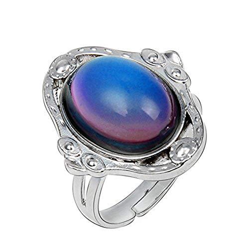 EVBEA Stimmungsring Ring Damen Stimmung Gefühl Mood Ring Farbe Vintage Boho Schmuck Verstellbare Fingerringe Daumenringe für Frauen