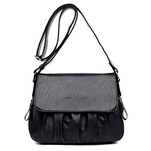 Damentasche einfache lässige Umhängetasche aus weichem Leder Damentasche aus Leder Hēisè 25000 schwarz - 25000 Leben