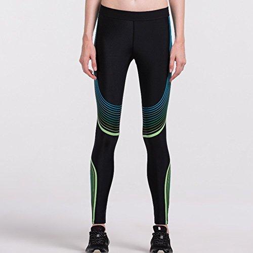 Dliunn Legging de Yoga Sport Femme Imprimé Collant Minceur Séchage Elastique Yoga/Fitness/Running Noir Vert